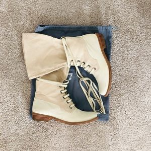 7 for all mankind leather bootie with canvas shaft
